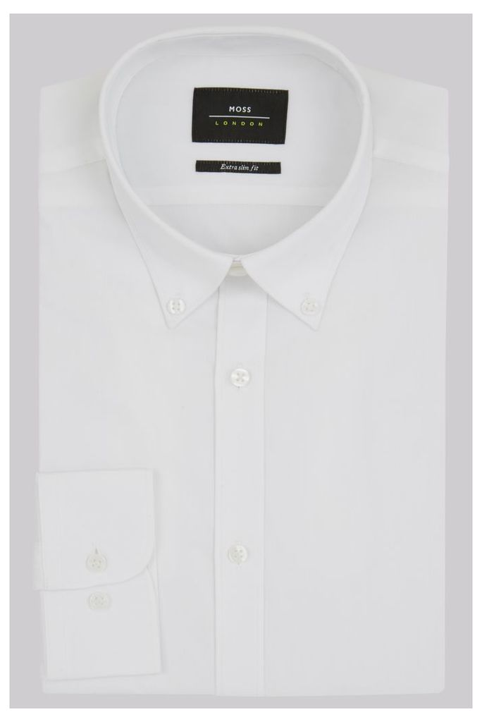 Moss London Extra Slim Fit White Single Cuff Button Down Stretch Shirt