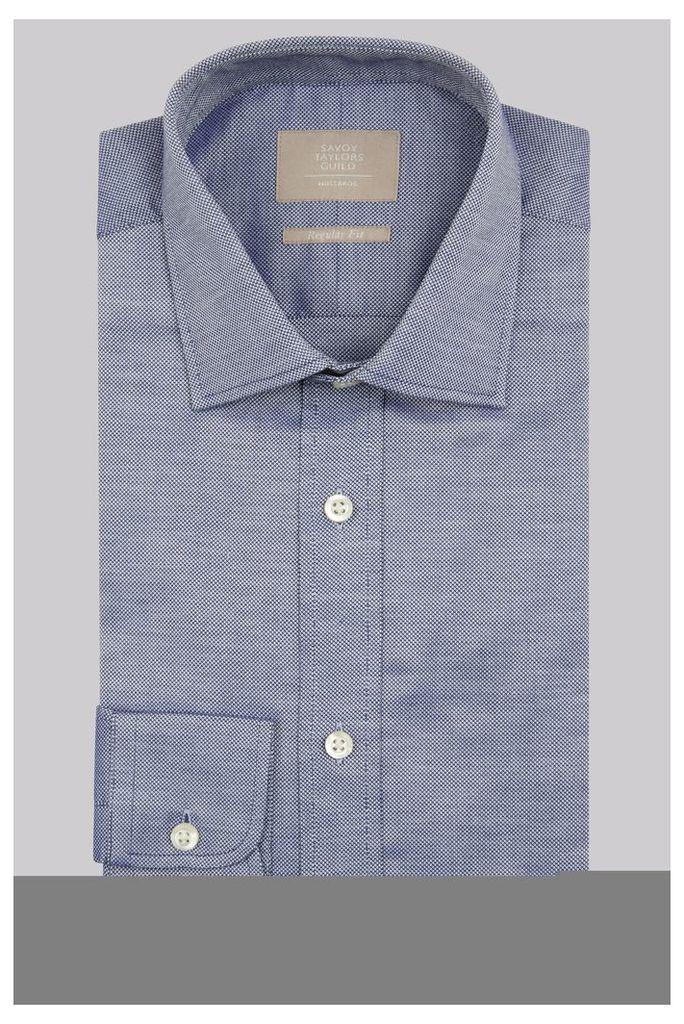 Savoy Taylors Guild Regular Fit Navy Single Cuff Oxford Texture Shirt