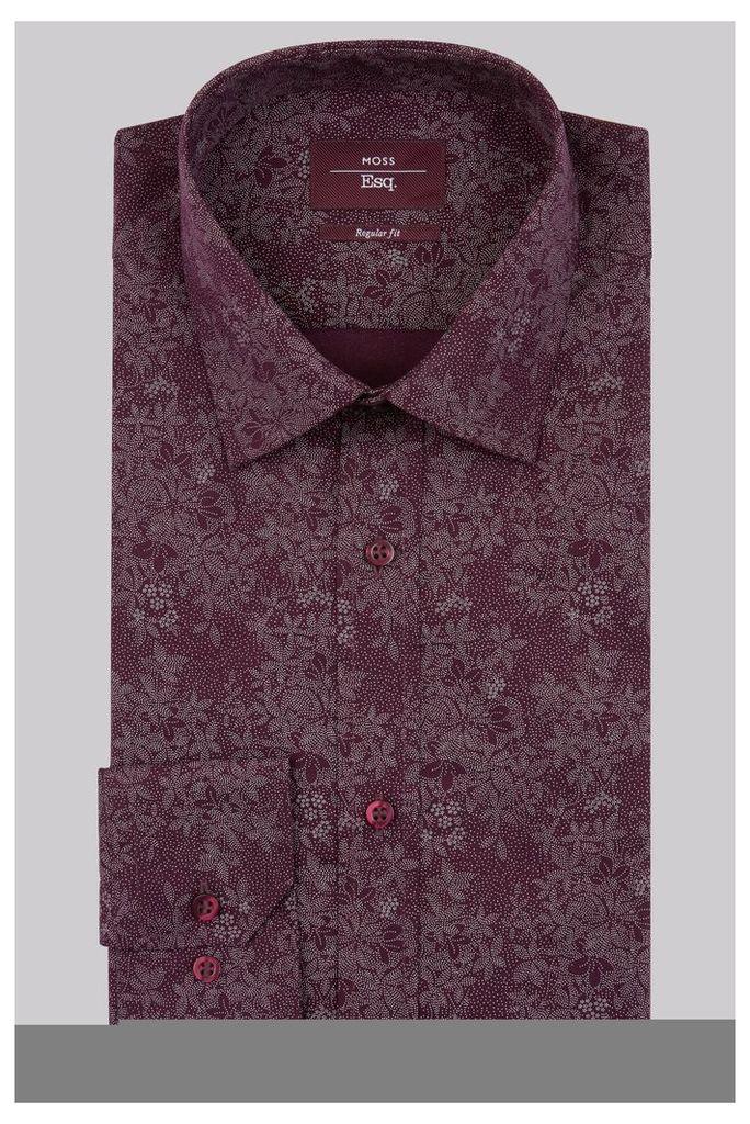 Moss Esq Regular Fit Aubergine Single Cuff Pin Dot Print Shirt