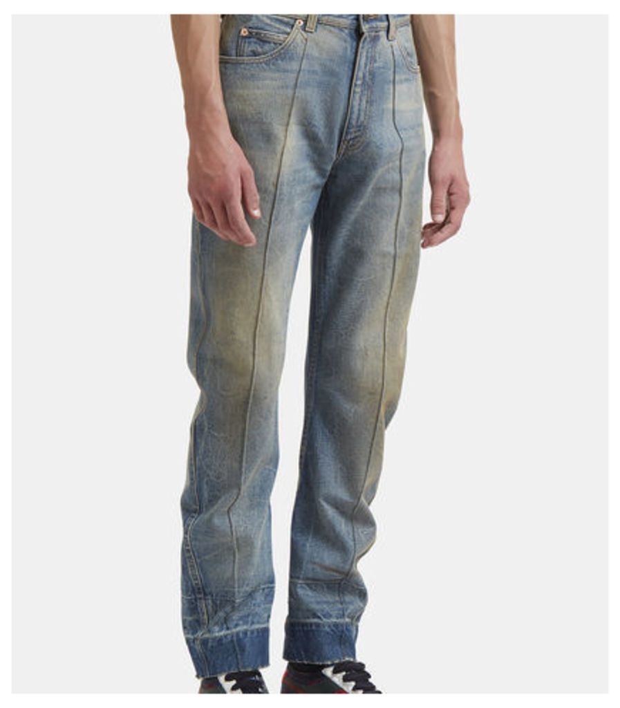 Distressed Stone Washed Jeans