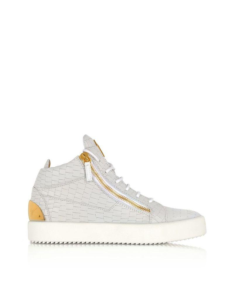 Giuseppe Zanotti Shoes, Kriss White Croco Embossed Mid-Top Sneaker