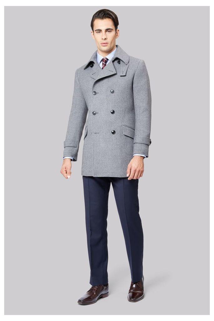 Hardy Amies Grey Premium Reefer Coat