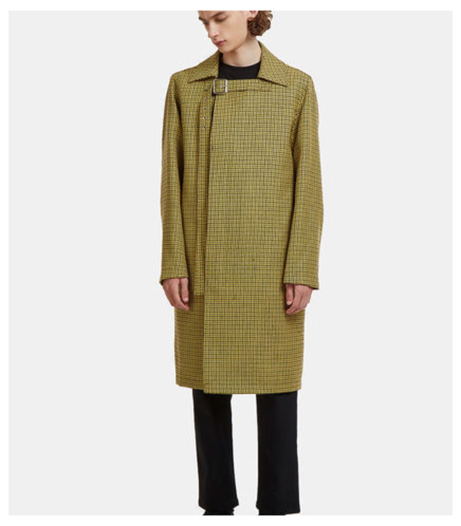 Mid-Length Buckled Houndstooth Coat