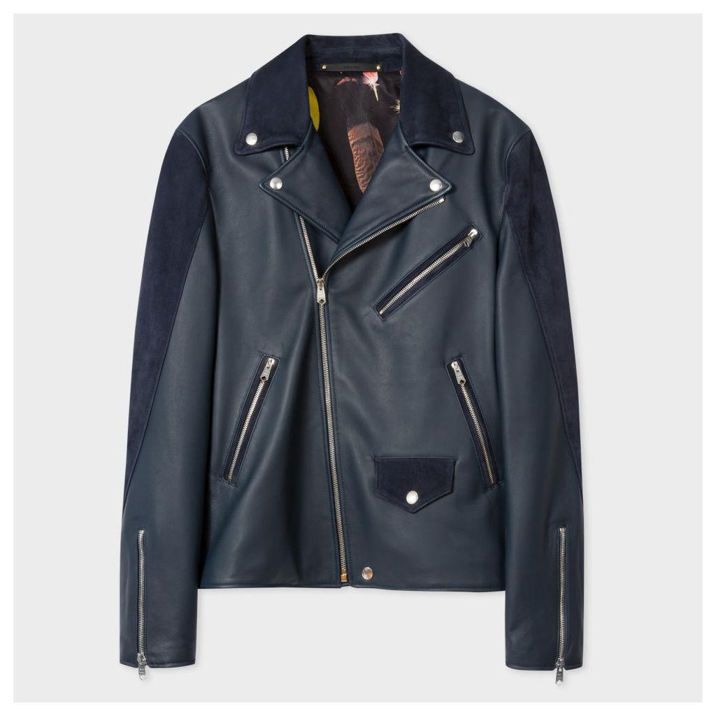 Men's Navy Leather And Suede Biker Jacket