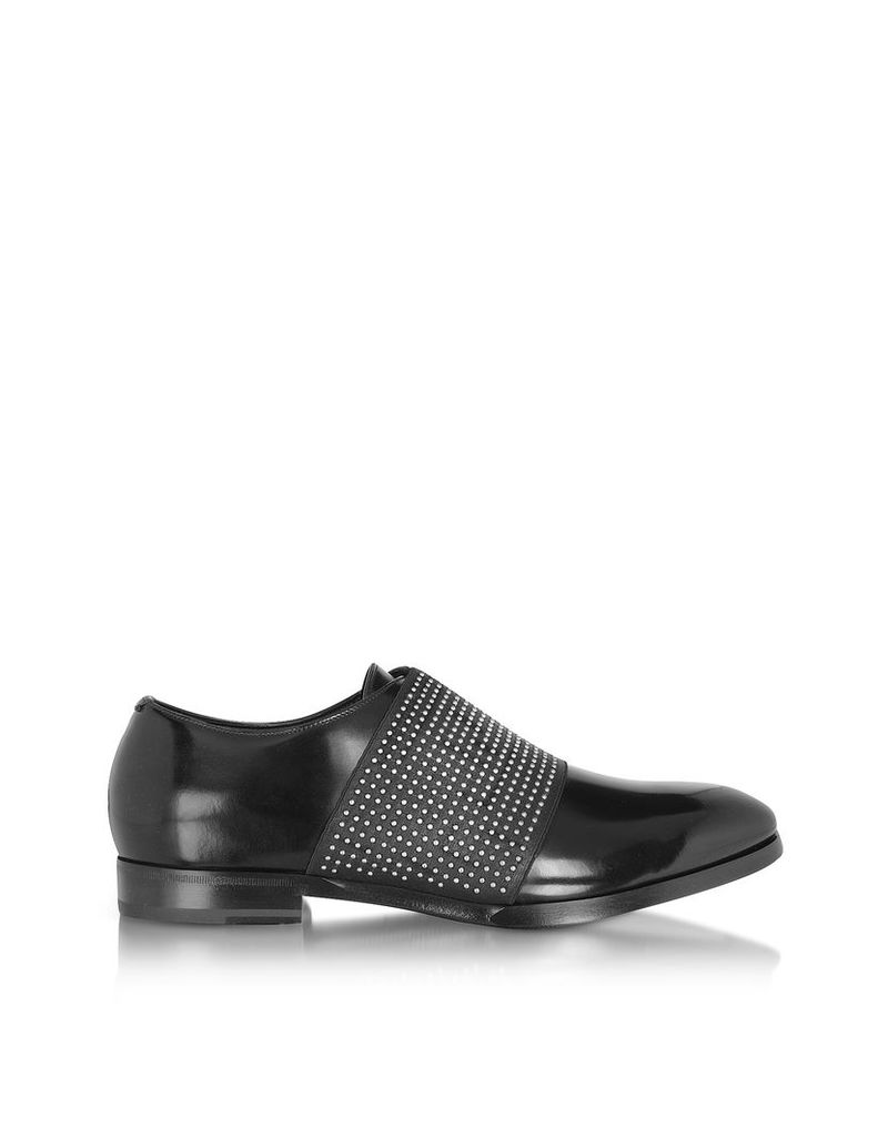 Jimmy Choo Shoes, Peter Black Leather Loafer w/Elastic Studded Band