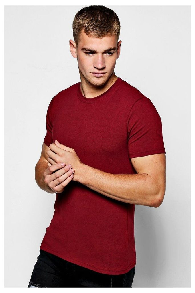 Sleeve Muscle Fit T-Shirt - burgundy