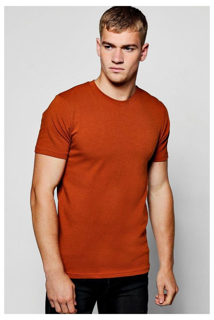 Sleeve Muscle Fit T-Shirt - rust