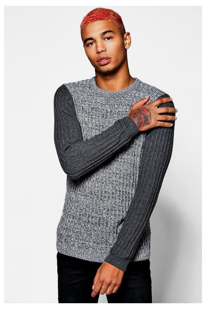 Ribbed Jumper With Contrast Sleeve - grey