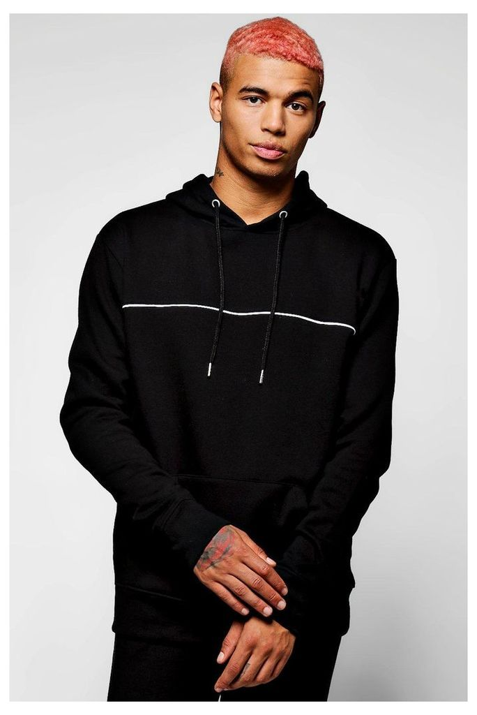 The Head Hoodie With Piping - black