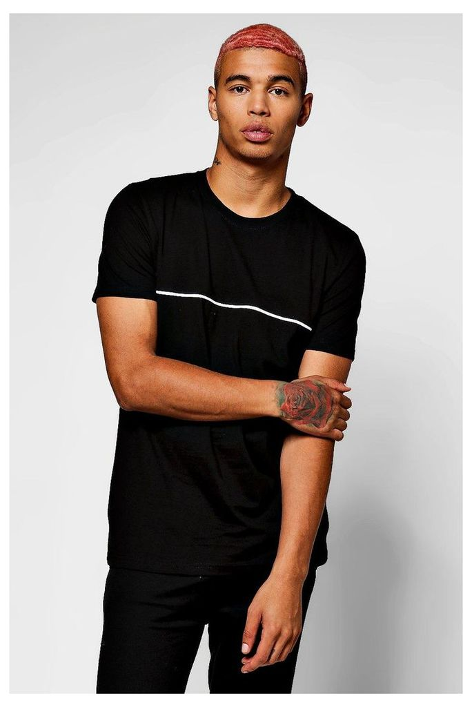 Sleeve T-Shirt With Piping - black