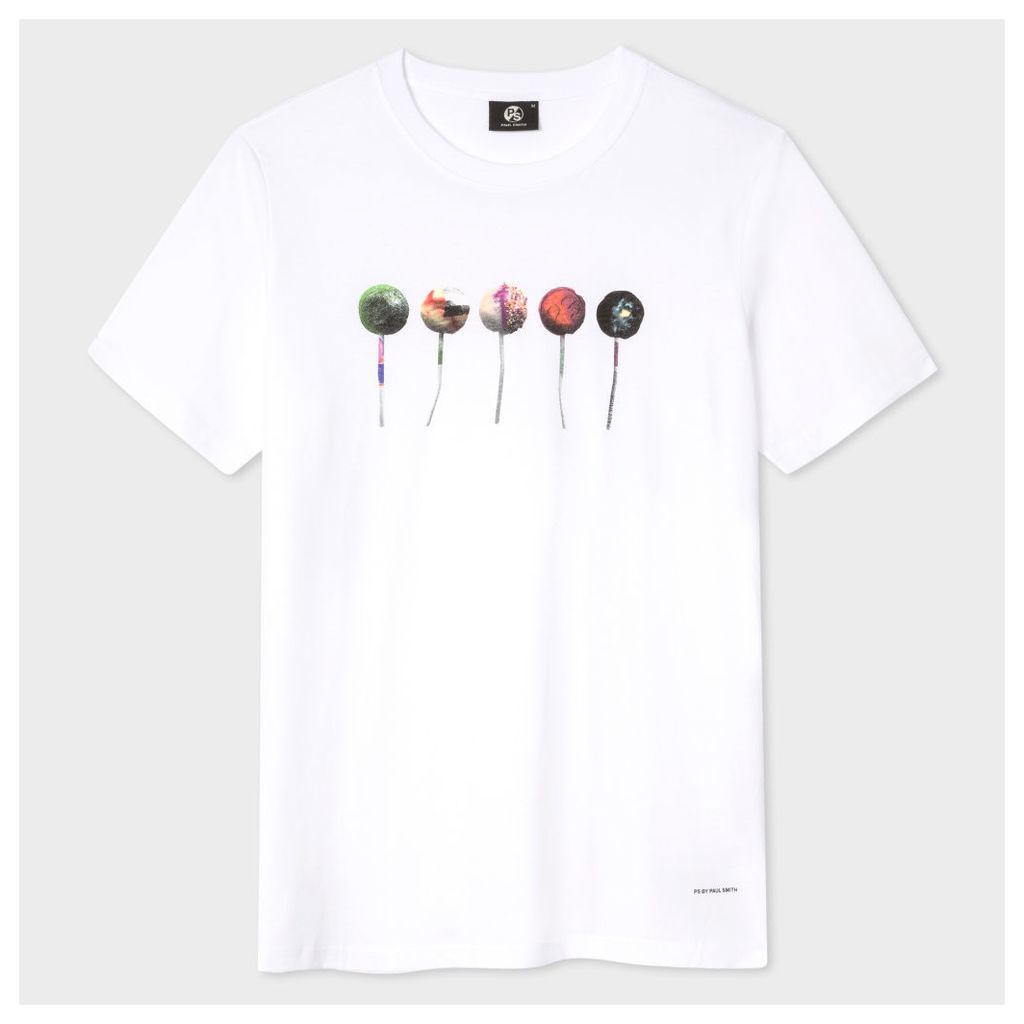 Men's White 'Lollipops' Print Cotton T-Shirt