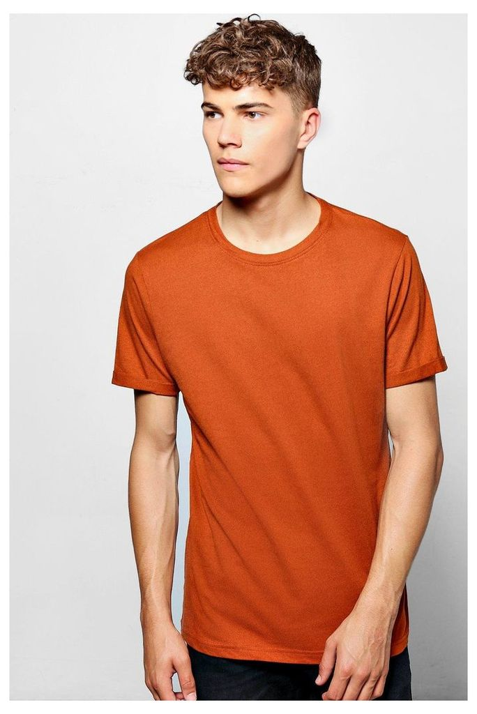 Neck T-Shirt With Rolled Sleeves - rust