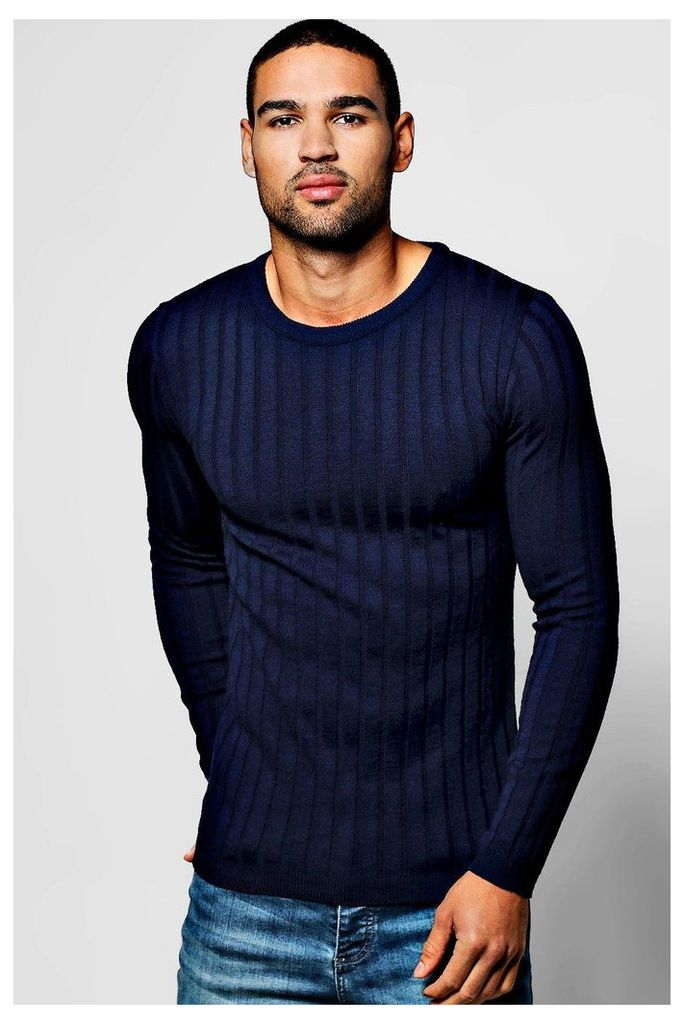 Fit Ribbed Crew Jumper - navy