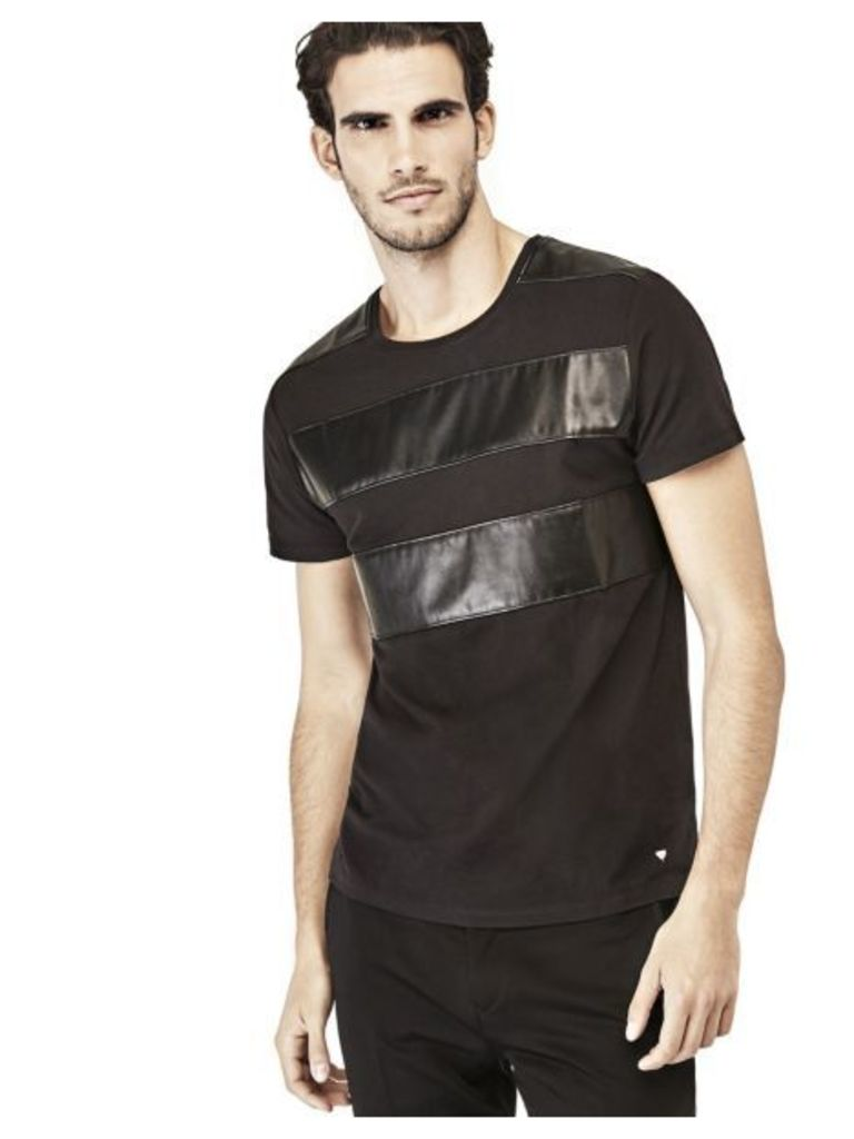 Guess T-Shirt With Coated-Look Inserts