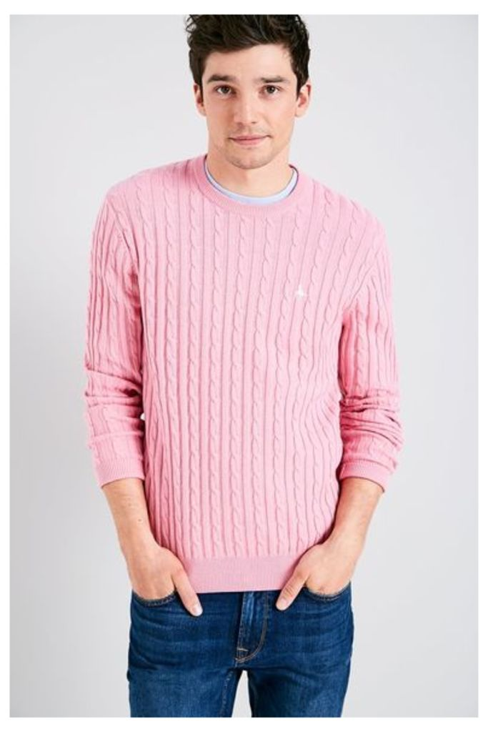 MARLOW CABLE CREW NECK JUMPER PINK