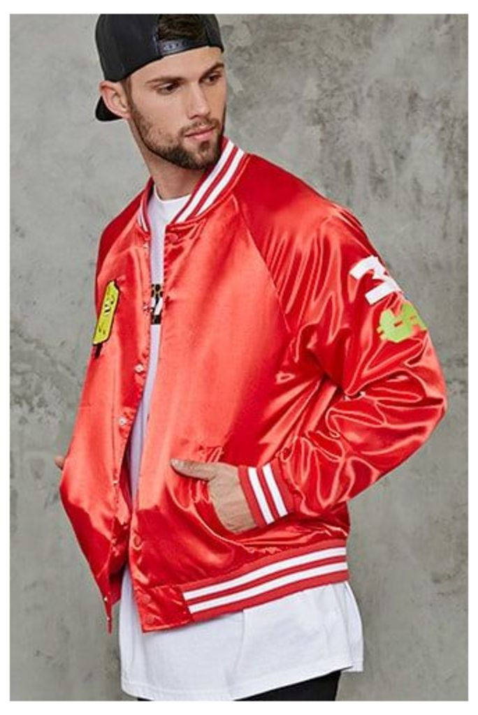 Patched Satin Baseball Jacket