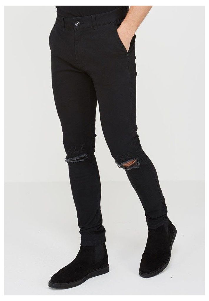 Embroidered Self-Made Jeans - Black