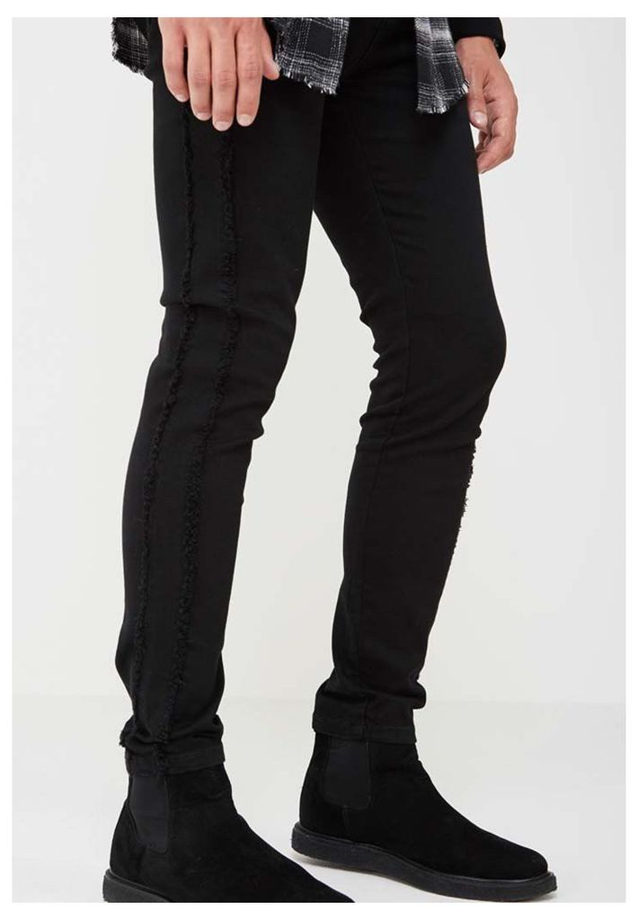 Distressed Side Seam Jeans - Black