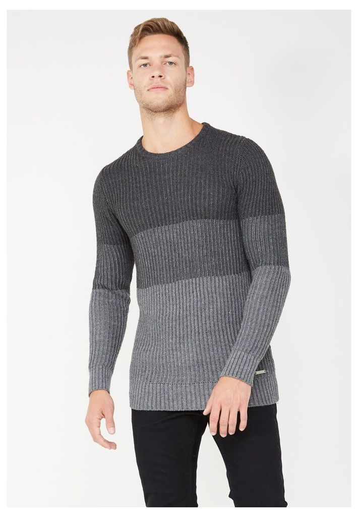 Block Panelled Knitted Jumper - Grey