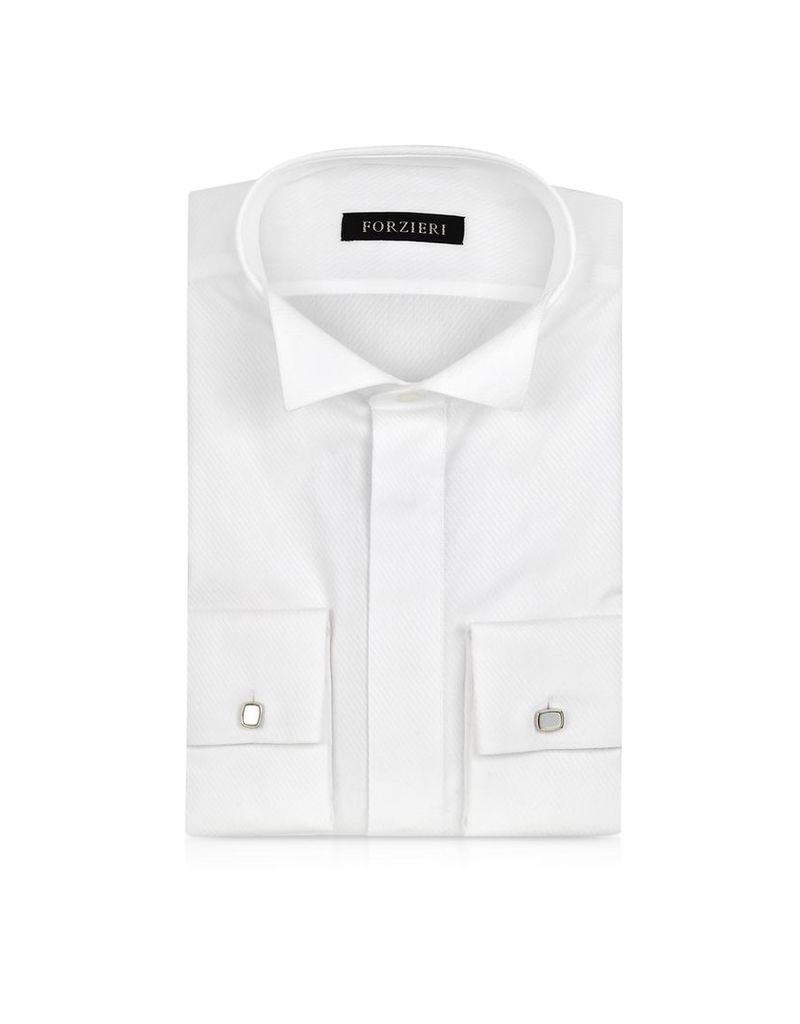 Forzieri Dress Shirts, White Textured Cotton French Cuff Tuxedo Shirt