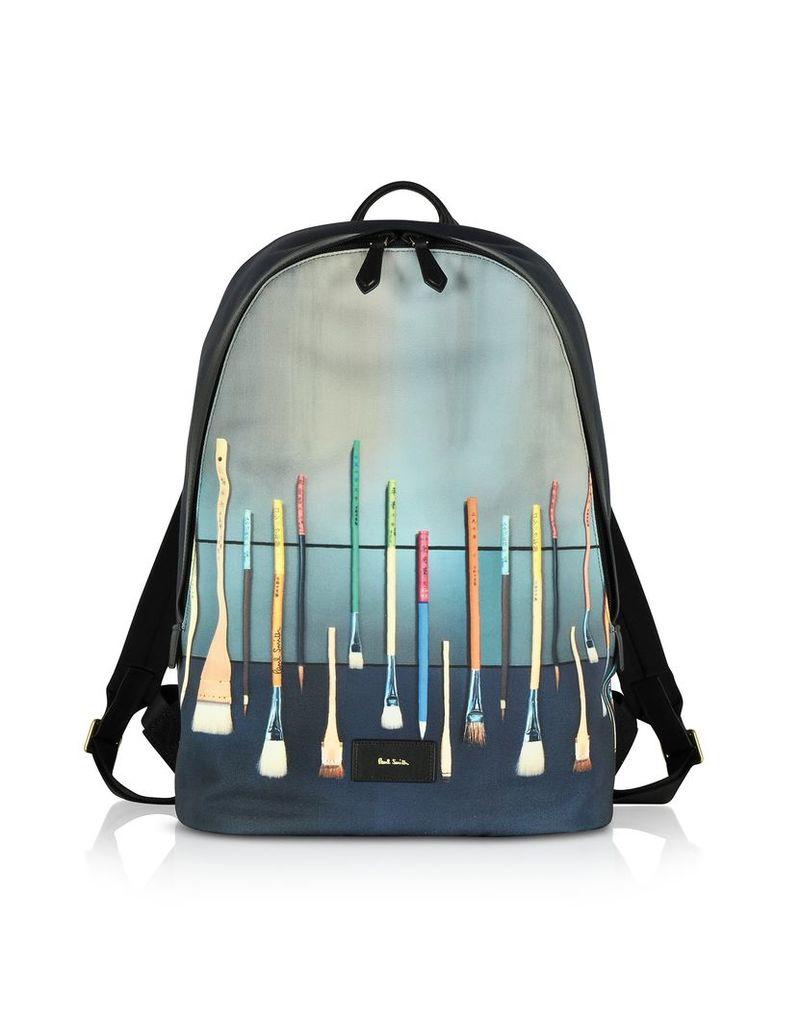 Paul Smith Backpacks, Blue Canvas Brush Print Backpack