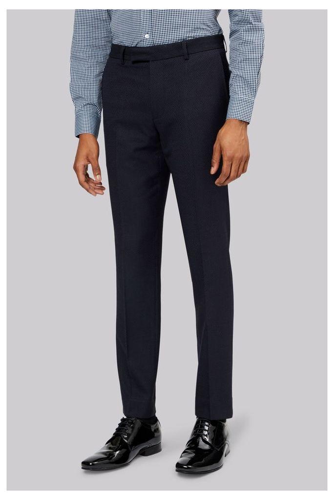 Moss London Navy Jacquard Trousers