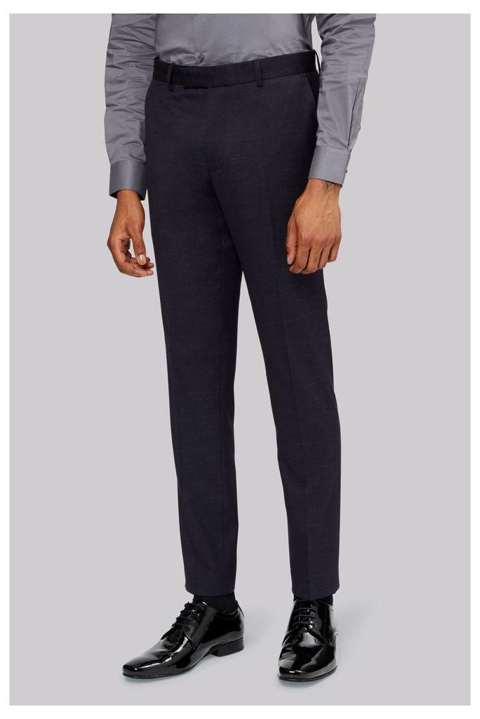 Moss London Slim Fit Denim Look Navy Dress Trousers
