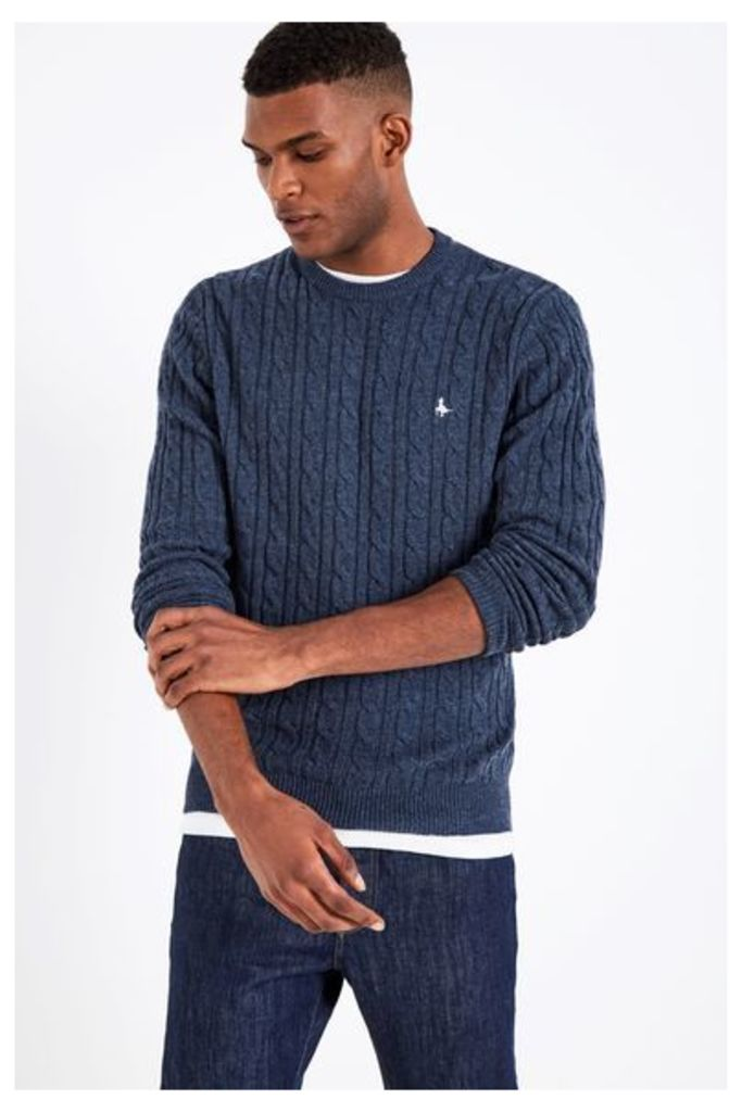 MARLOW CABLE CREW NECK JUMPER NAVY MARL