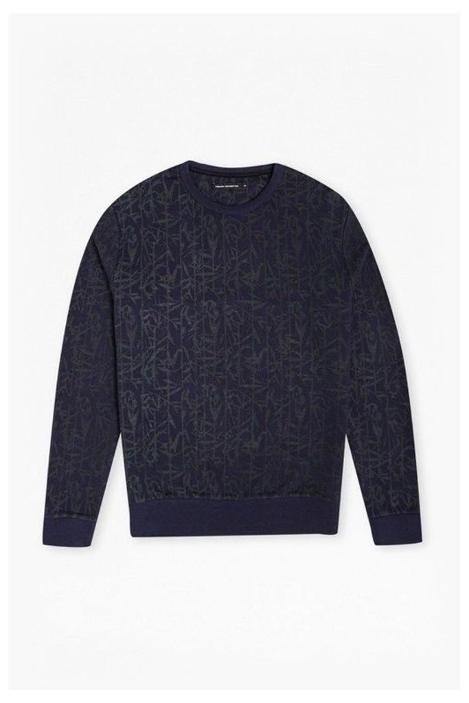 Bamboo Printed Sweatshirt  - marine blue