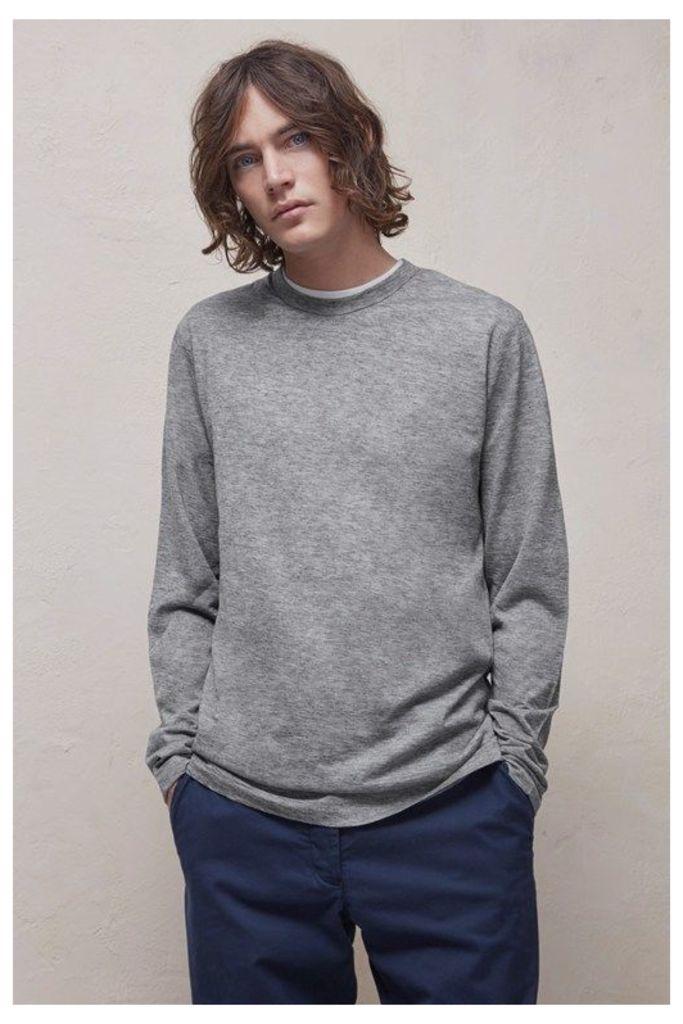 Wool Jersey Long Sleeve T-Shirt - grey melange