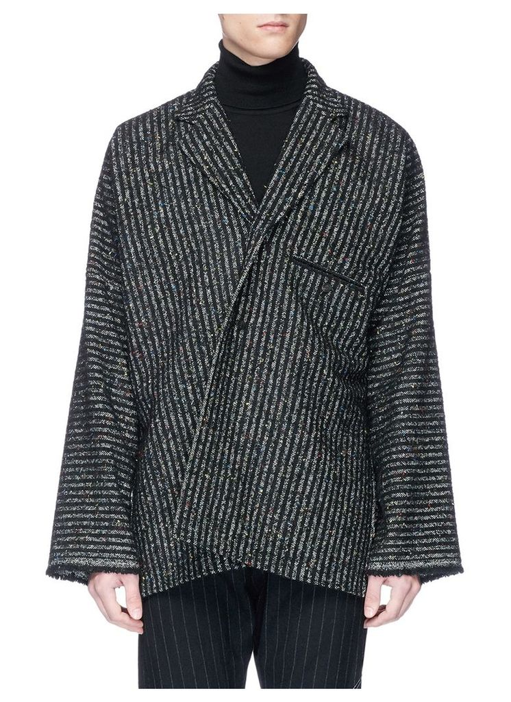 Stripe tweed asymmetric coat