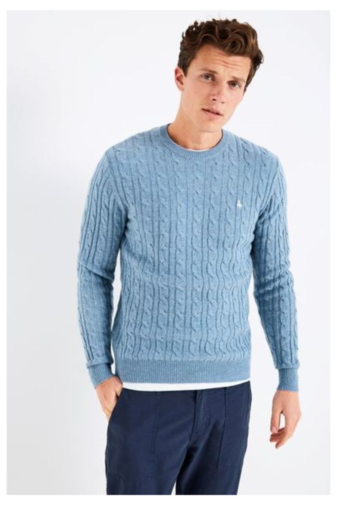 MARLOW CABLE CREW NECK JUMPER BLUE/WHITE