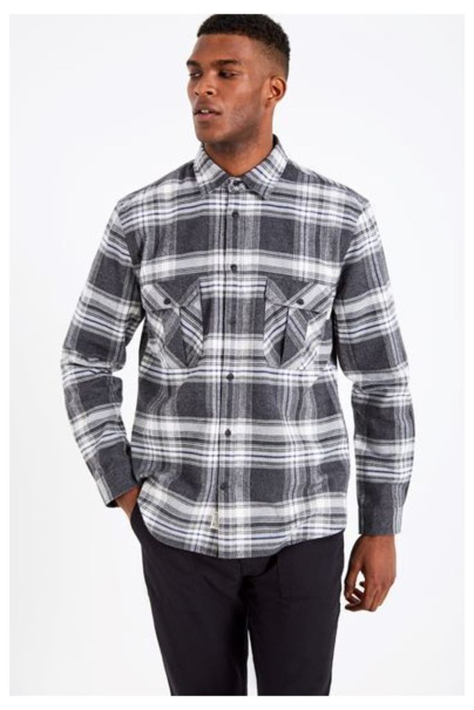 DUNDRY HW FLANNEL CHECK SHIRT CHARCOAL