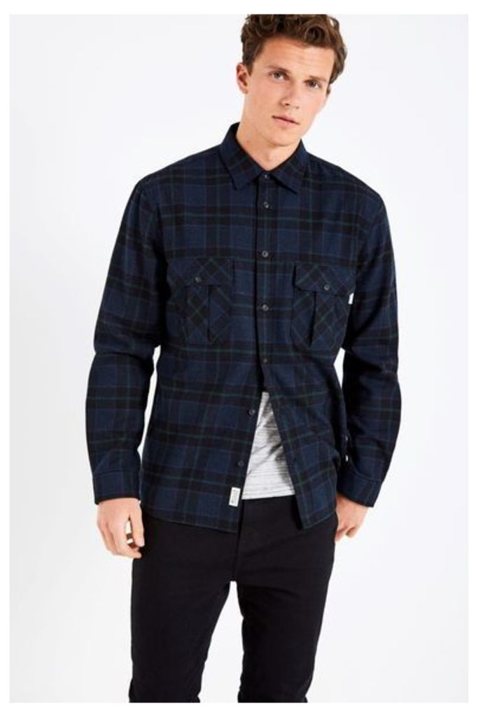 DUNDRY HW FLANNEL CHECK SHIRT NAVY