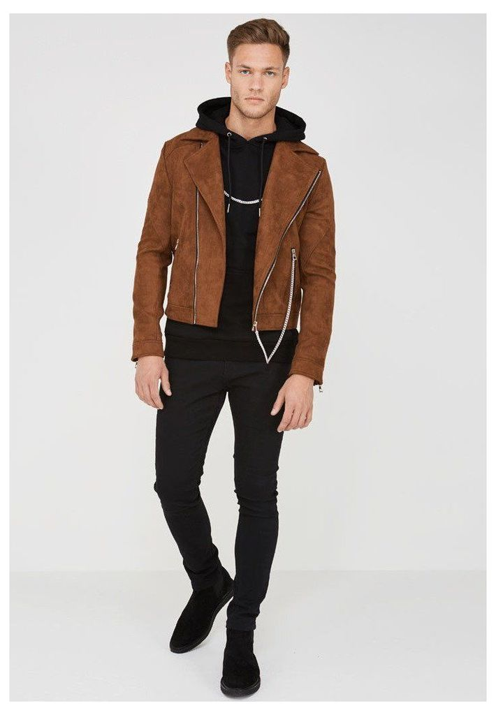 Suede Biker Jacket with Chain - Brown