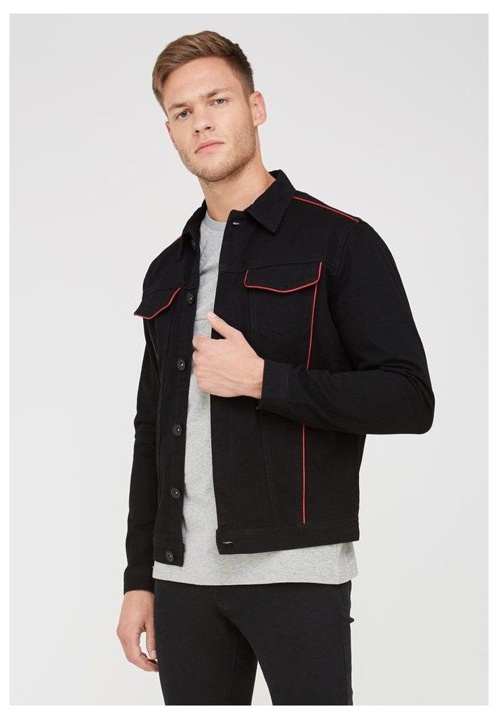 Denim Jacket with Leather Piping - Black/Red
