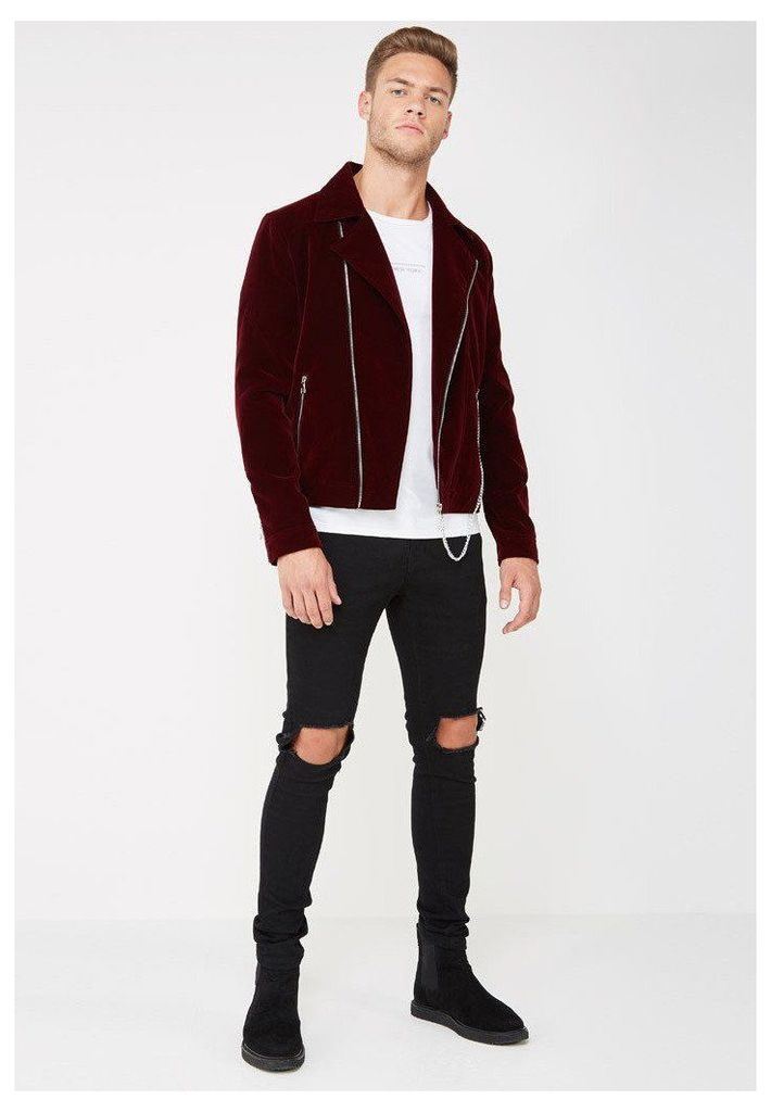 Velvet Biker Jacket - Deep Red