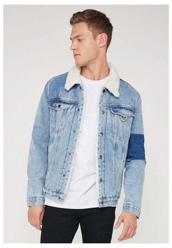 Denim Jacket with Sherpa Collar - Blue Denim