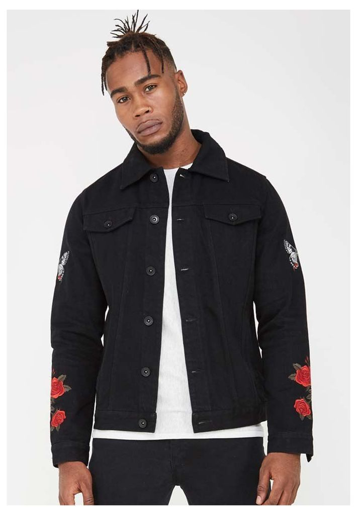 Embroidered Denim Jacket - Black