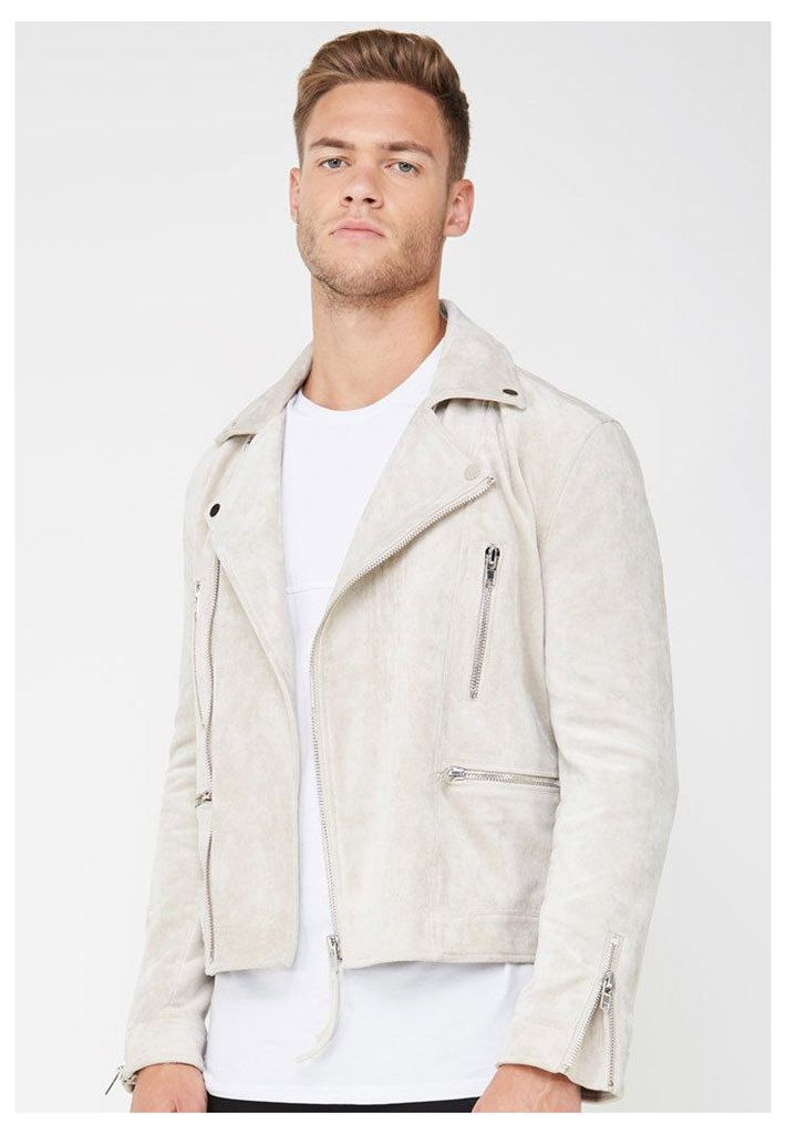 Suede Biker Jacket with Zip - Stone