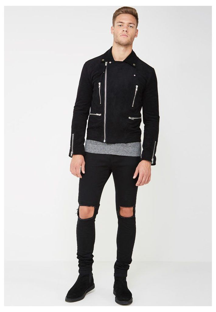 Suede Biker Jacket with Zip - Black