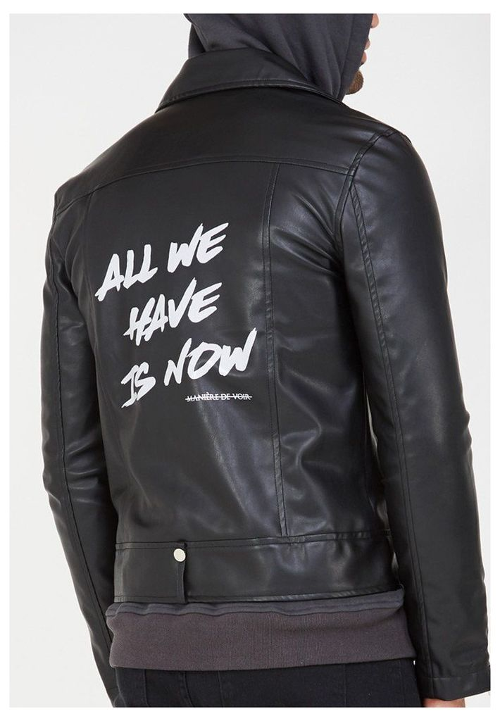 Leather Biker Jacket with Print - Black