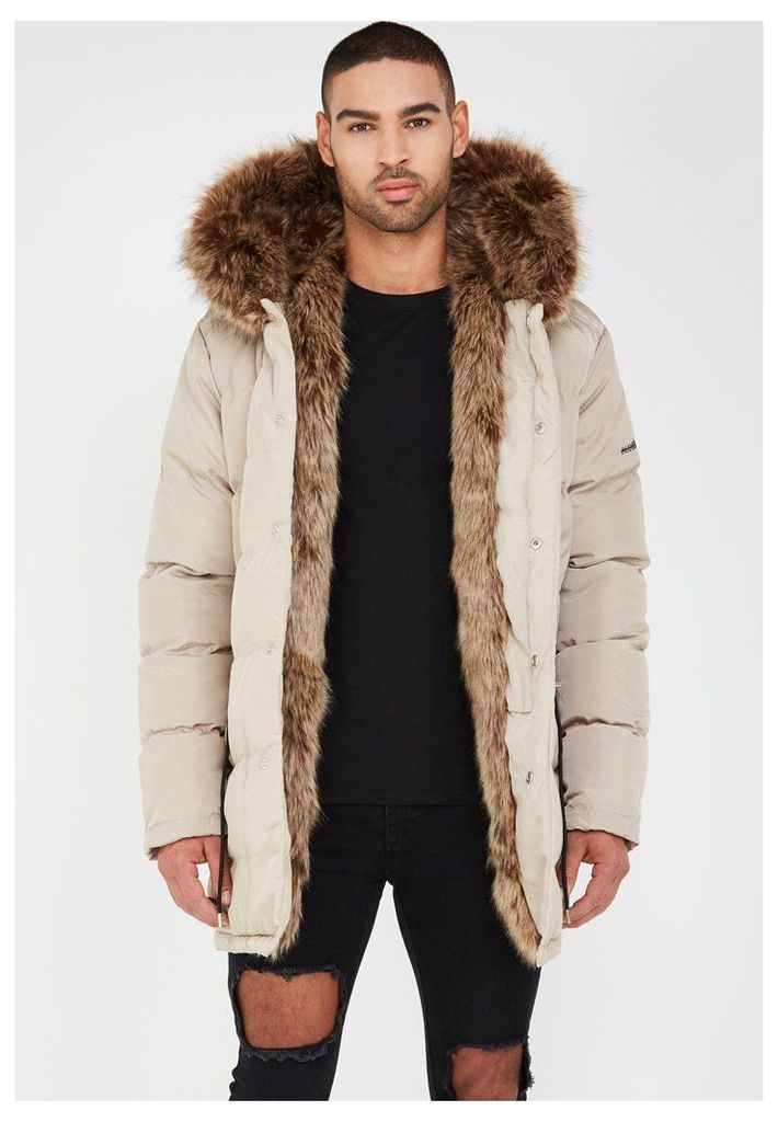 Fur Lined Coat - Beige