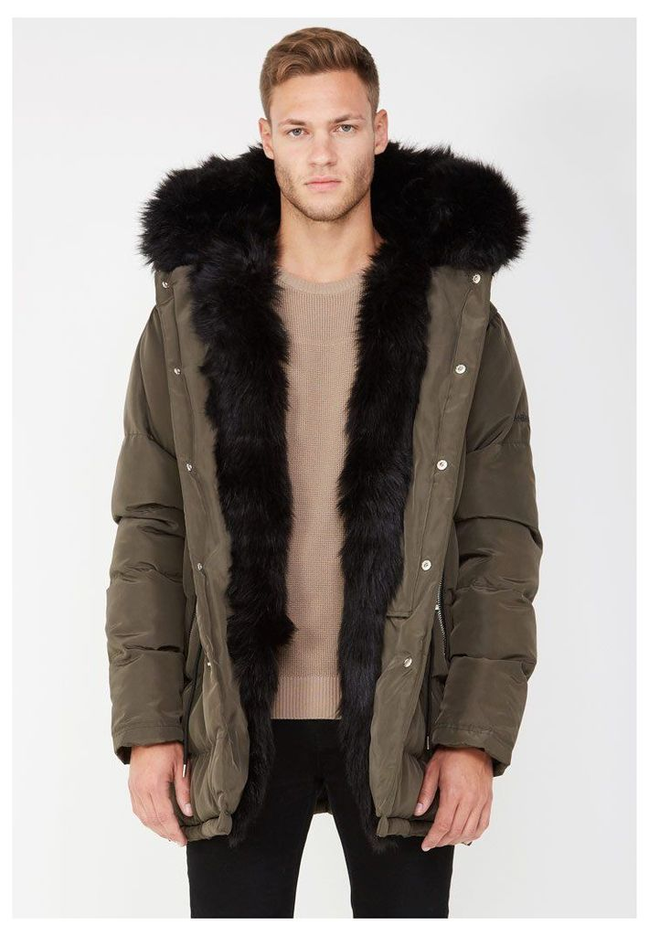 Fur Lined Coat - Khaki