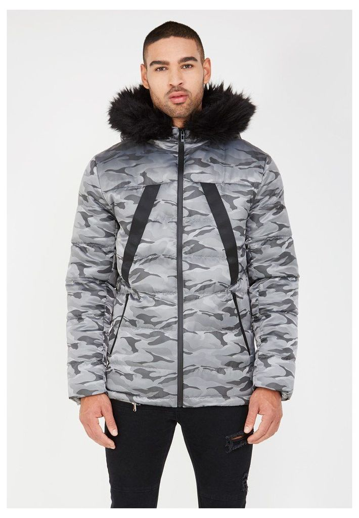Quilted Puffer Jacket with Fur Hood - Grey Camo