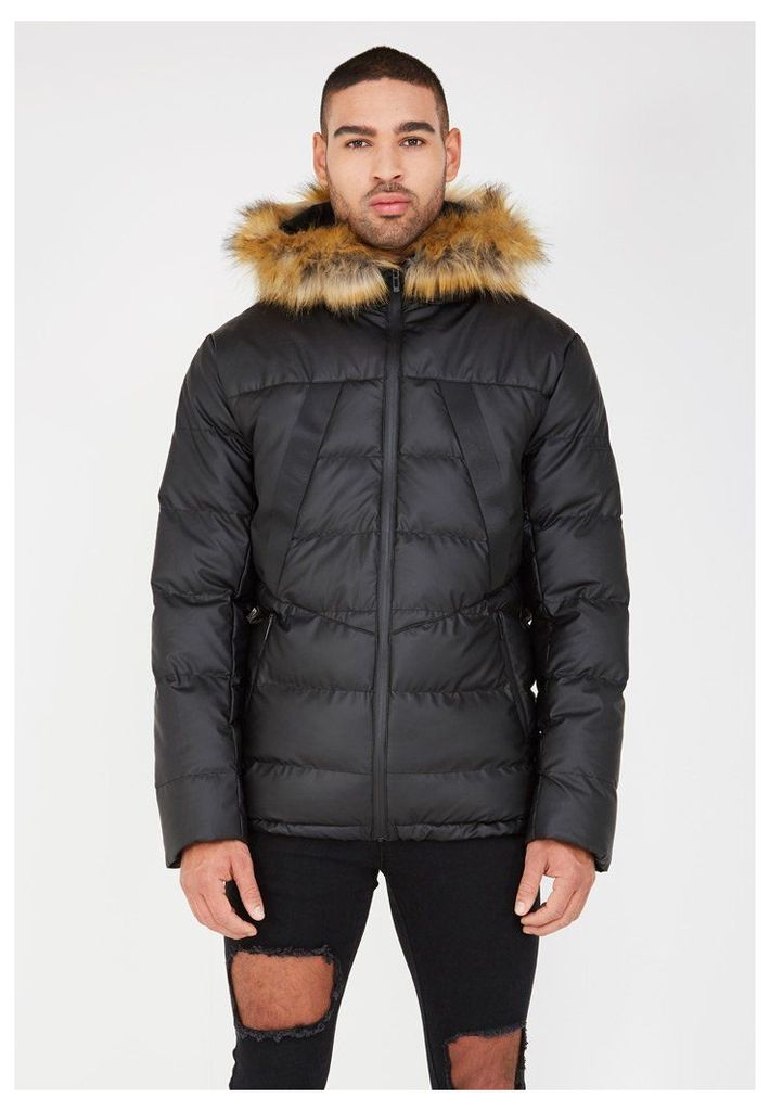 Quilted Puffer Jacket with Fur Hood - Black