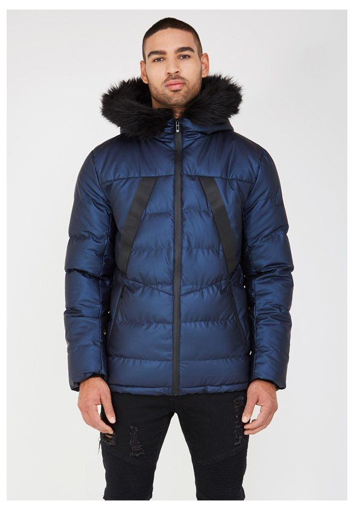 Quilted Puffer Jacket with Fur Hood - Navy