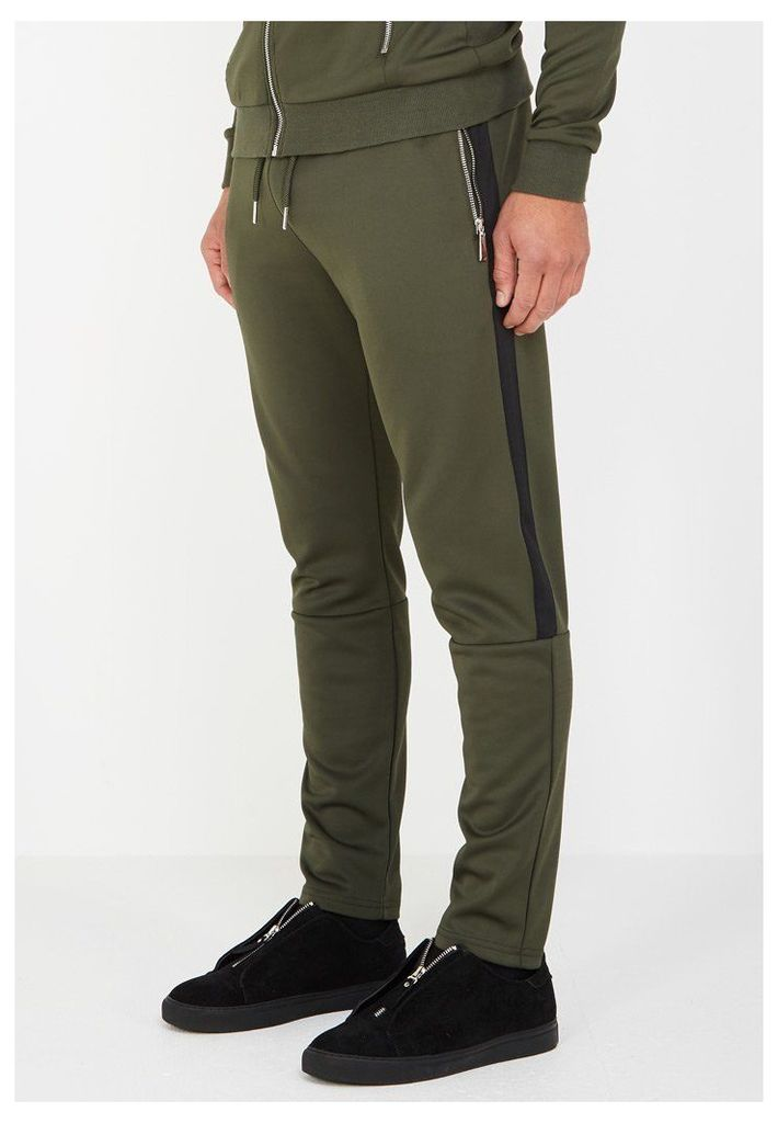 MDV Tracksuit Bottoms with Stripe - Khaki