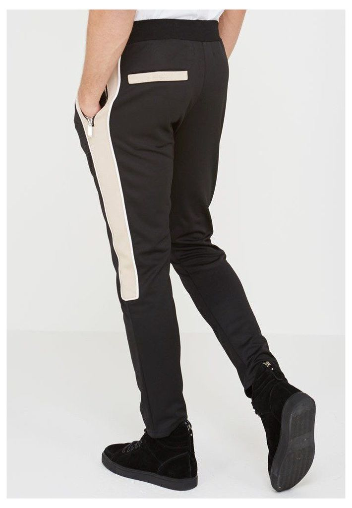 MDV Piped Tracksuit Bottoms - Black/Beige