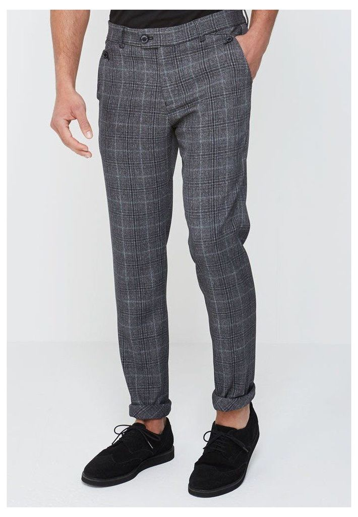 Checked Trousers - Dark Grey
